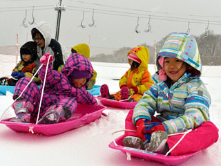 営業が始まった箱館山スキー場でそり遊びを楽しむ園児