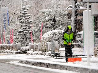 長浜市の市外にも積雪