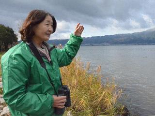 草津湖岸コハクチョウを愛する会の吉岡理事長