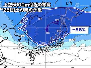 上空5000m付近にマイナス36度の寒気(1月26日9時の予想)