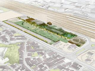 JR米原駅東口再開発エリアの完成予想図