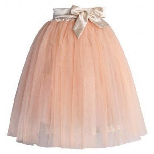 Amore Tulle Midi Skirt in Ice Orange111111