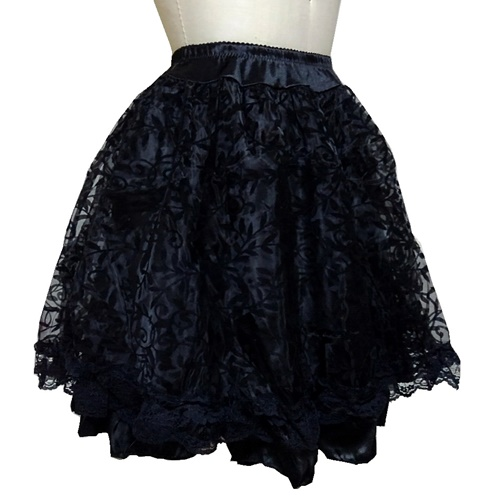 Black Gothic Midi Steampunk Skirts Lace Corset Tutu Dress111