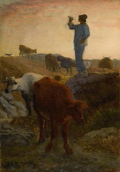 角笛を吹く牛飼い
