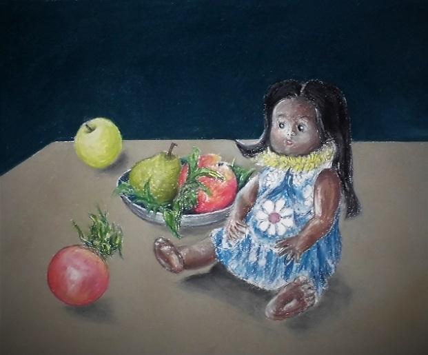 1811.22 絵・テーブルに柘榴と人形 (7)