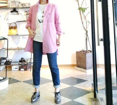 ピンクストライプロングシャツ1