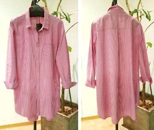 ピンクストライプロングシャツ2