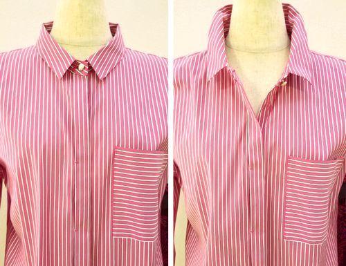 ピンクストライプロングシャツ3