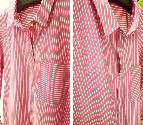 ピンクストライプロングシャツ5
