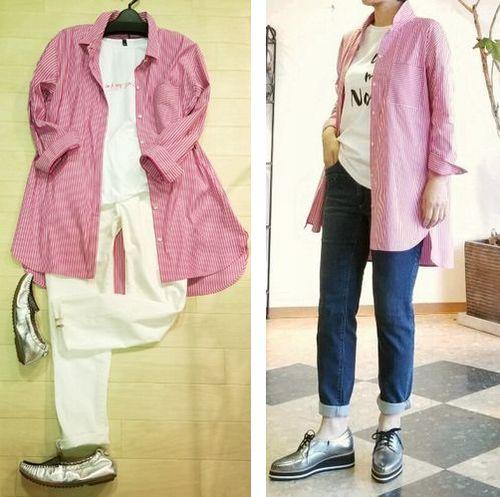 ピンクストライプロングシャツ10