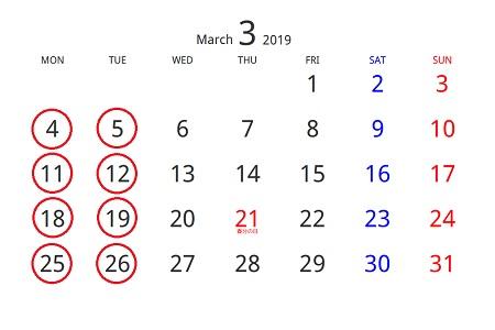 201903カレンダー