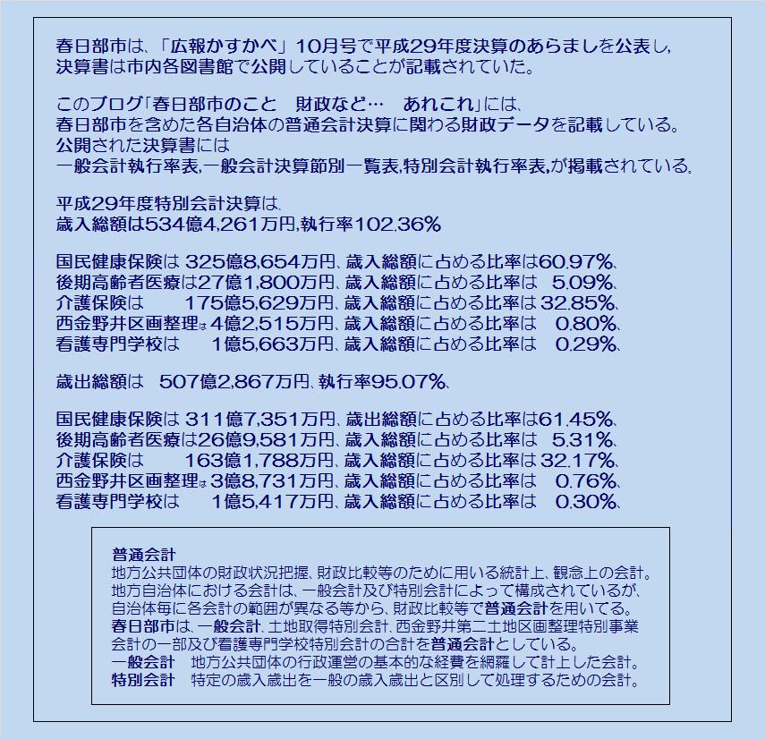 春日部市平成29年度特別会計執行率表・コメント