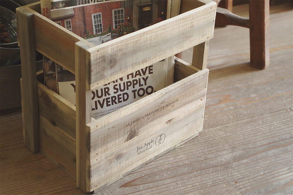 ヴィンテージスタイルのりんご箱風木製ストッカー