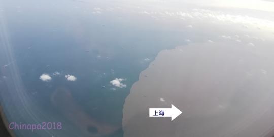 上海に近づくと飛行機からでもハッキリわかる