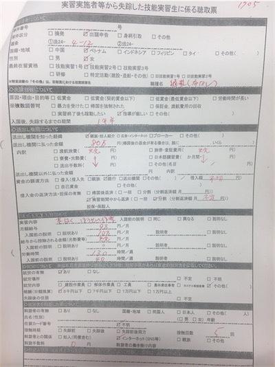 「失踪」実習生の調査票写し。DsXMidrV4AE-ATF
