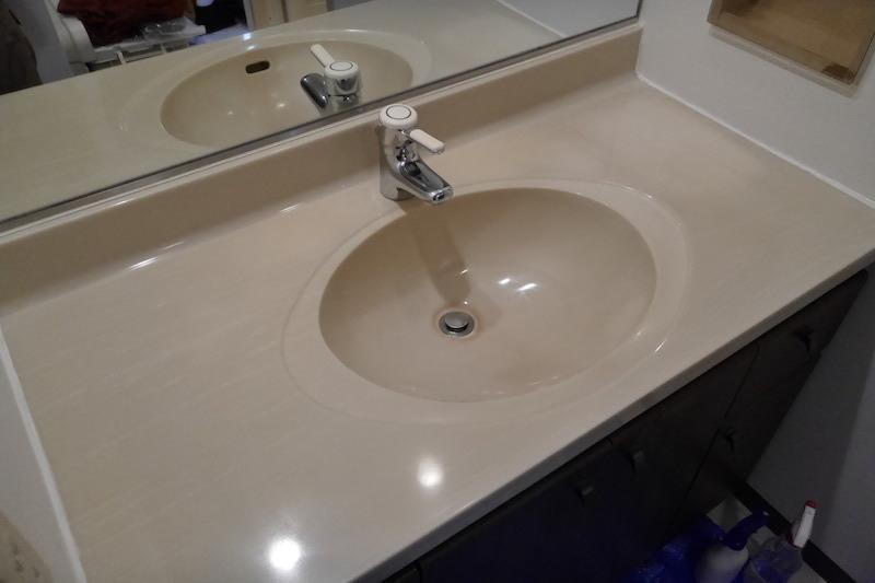 人工大理石洗面台再生研磨・磨き後1−1アーククリーンサービスHP