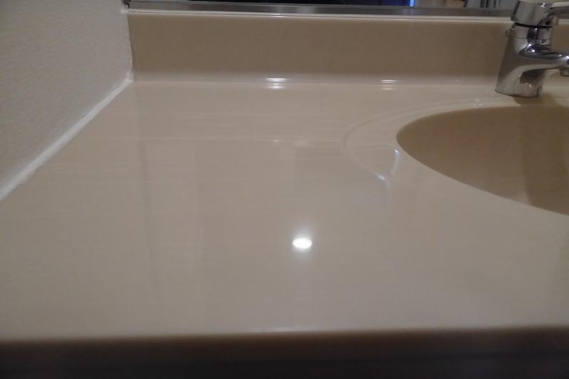 人工大理石洗面台再生研磨・磨き後1−2