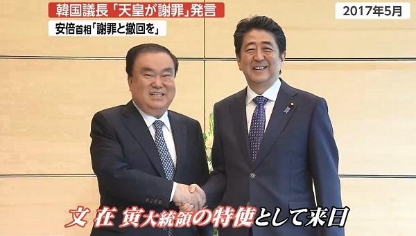 実は2017年には、文喜相氏が文在寅大統領の特使として来日しており安倍首相とも会談している。
