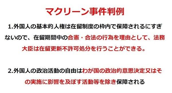 「マクリーン事件判決」で日本の最高裁は「外国人の政治活動の自由は、わが国の政治的意思決定又はその実施に影響を及ぼす活動等が保障されていない。」
