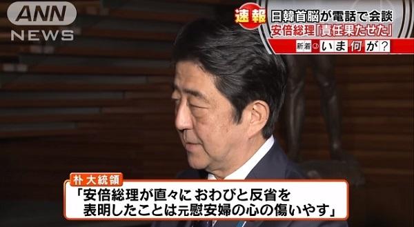 安倍首相のお詫びと反省に対し、朴槿恵大統領は「安倍総理が直々にお詫びと反省を表明したことは元慰安婦の心の傷をいやす」と表明した。