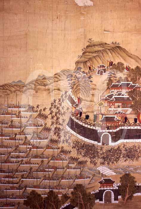 「文禄の役」の釜山城攻略を描いた『釜山鎮殉節図』には、釜山城内に「師旗」が描かれている。 比較的解像度の高い画像無題