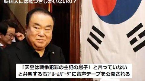韓国の文喜相(ムン・ヒサン)国会議長が「日王(イルワン)は戦争犯罪の主犯の息子」などと発言していたことが確認され、韓国側の嘘がバレる!の息子』と述べた」