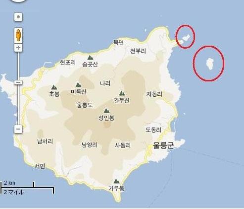 「大韓帝国勅令第41号」で領有権を宣言した韓国の「竹島」と「石島」(観音島)