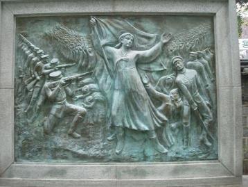 ホラー小説を基に作られた独立記念館(お化け屋敷)のレリーフ