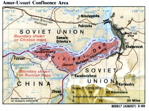 2004年10月14日に結ばれた「中露国境協定」により、ロシアは実効支配していたタラバーロフ島の全域と大ウスリー島の西半分を支那に返還することにした。
