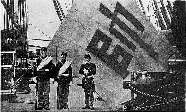 The captured Sujagi aboard USS Colorado June 1871 during the United States expedition to Korea.