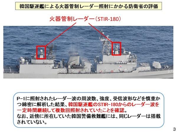 自衛隊・防衛省「近くにいた韓国の警備救難艦は、火器管制用レーダーは搭載されていない」違う」