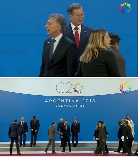 【話題動画w】G20集合写真撮影:早々に真ん中キープしたのに、完全無視されおどおどきょろきょろしてる文大統領がいたたまれないwwwwww