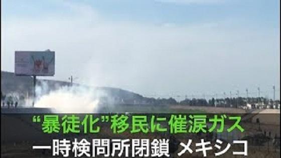 """暴徒化""移民に催涙ガス 一時検問所閉鎖"