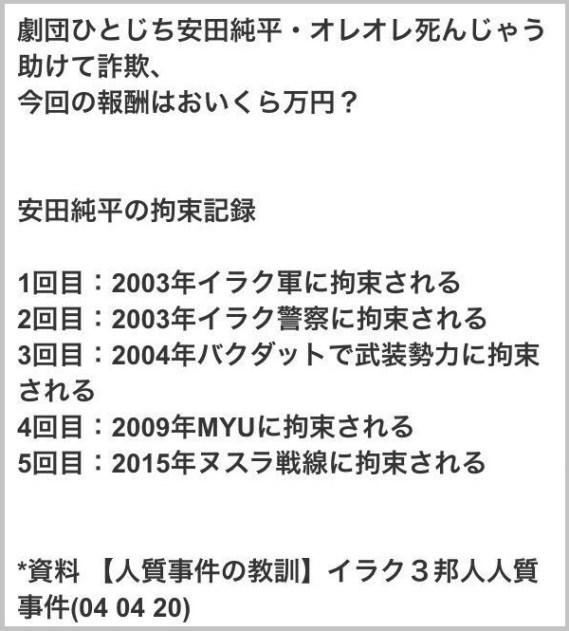 (9)過去、あまりにも拘束されたことが多いので自作自演の金儲けなのではないかと疑われている真っ最中。日本政府に億単位の身代金を要求しておいて、数十パーセントのキックバックが入るという話なのでは…。一言