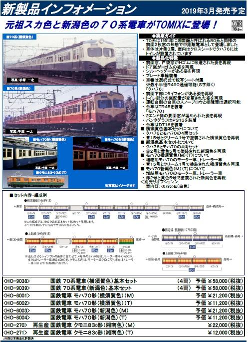 トミックスHO70系1