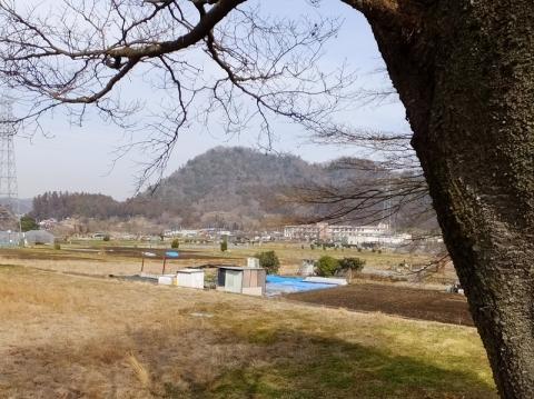 根小屋の富士塚より城山を望む