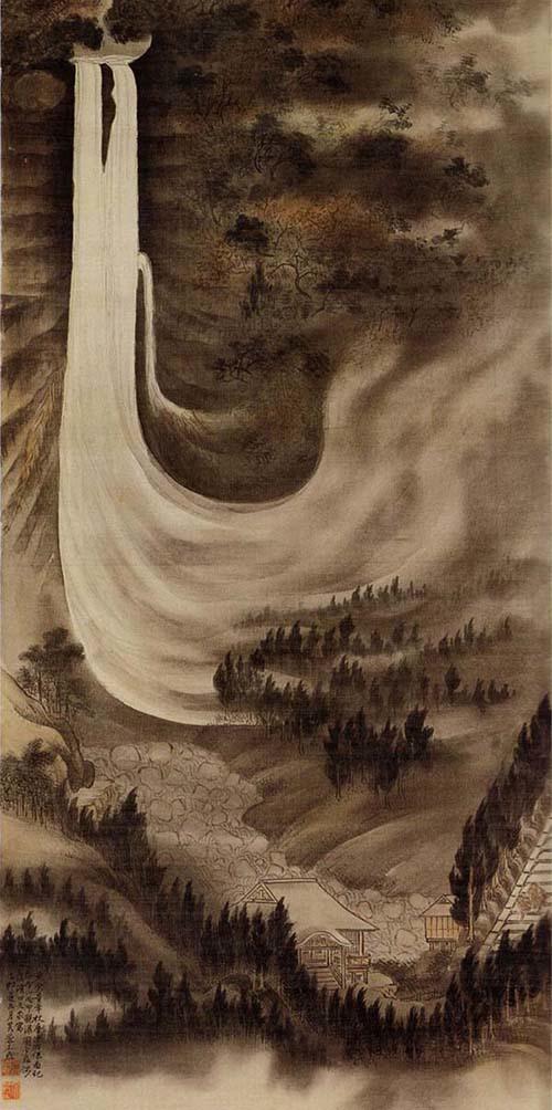 那智大瀑雨景図