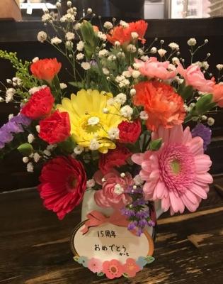 綿麺 15周年のお祝いの花たち 自分が贈った花(女将さんから提供)