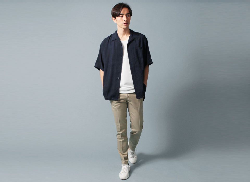 メンズ 半袖シャツ オープンカラーシャツコーディネート
