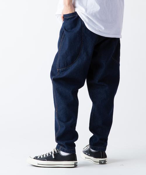 ビッグポケット ワイド テーパードデニムパンツ メンズ1
