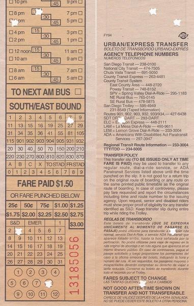 940803サンディエゴバスチケット