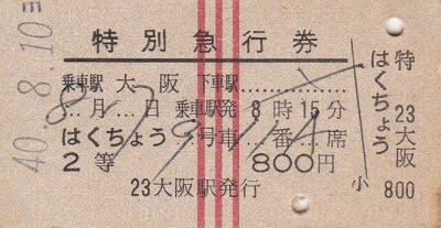 特急券(大阪から青森)