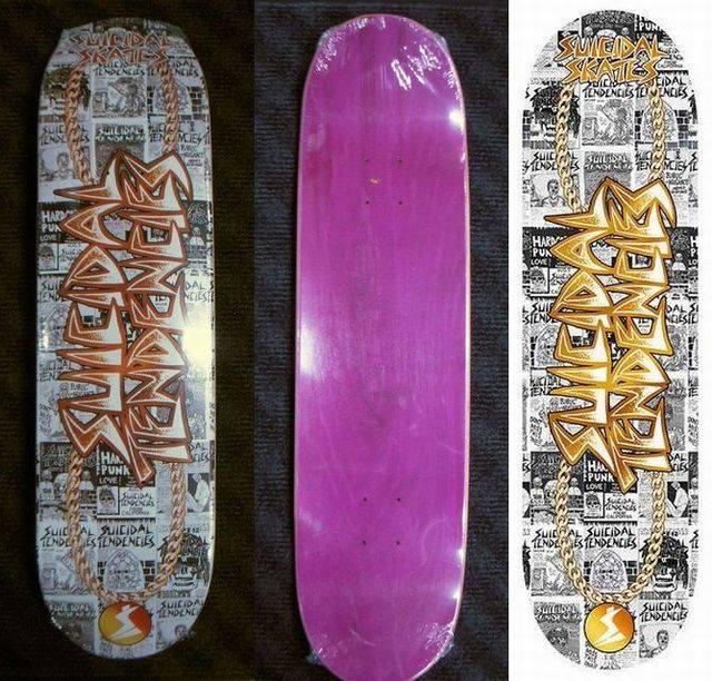 6 b Suicidal Skates ST Gold Chain Logo Popsicle Deck 825 x 325 WB14375 White