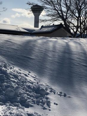 雪の土塁の向こうには五稜郭タワー