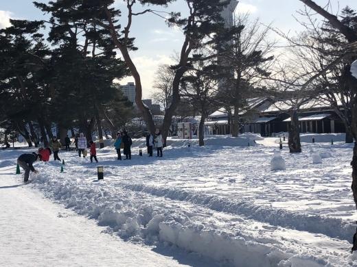 雪の中で大騒ぎで戯れる観光客