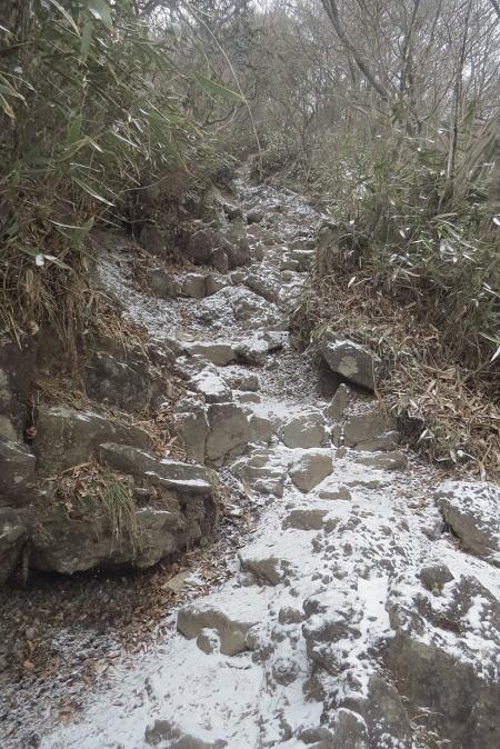 雪の登山道金時190214ブ