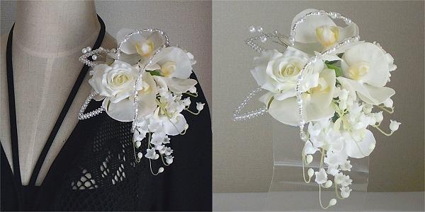 結婚式コサージュ・胡蝶蘭とすずらんで華やかさを