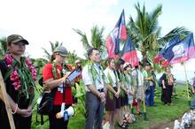 $    ピースボートのおりづるプロジェクト-儀式に参加した高校生平和大使とピースボート川崎哲