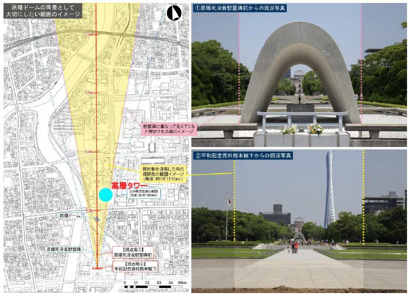 広島市 原爆ドーム景観 高層タワー(案)