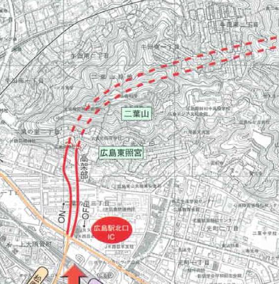 広島高速5号 トンネル工事ルート